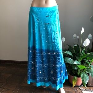 Long Beautiful Blue Boho Skirt